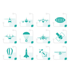 stylized different types of aircraft vector image vector image