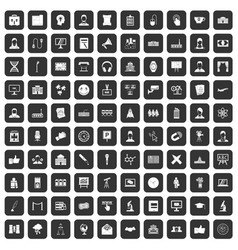100 conference icons set black vector image