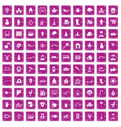 100 kindergarten icons set grunge pink vector