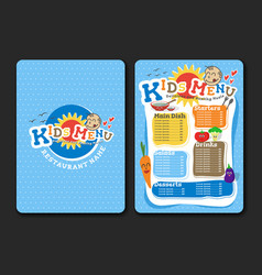 2 pages kids menu design with vegetable vector image