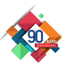 90 years anniversary design colorful square style vector