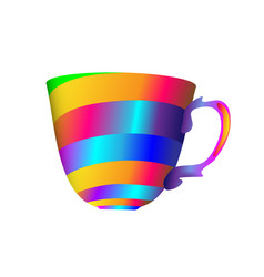 Abstract full color gradient striped teacup for vector