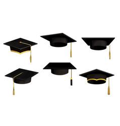 Academic caps icons university black hats vector