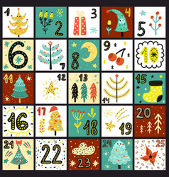 Advent calendar count days to christmas poster vector