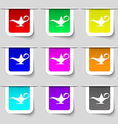 Alladin lamp genie icon sign Set of multicolored vector
