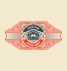 Antique label with floral details vector