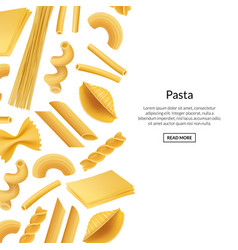 banner realistic pasta types background vector image