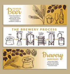 Banners set brewery beer vector