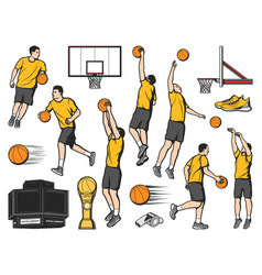 Basketball icons players and sport game items vector