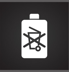 Battery icon on black background for graphic and vector