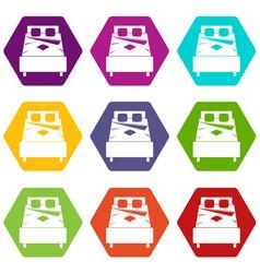 bed icon set color hexahedron vector image