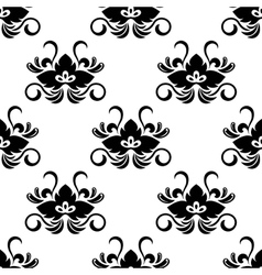 black floral arabesque seamless pattern vector image