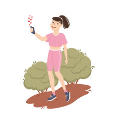 blogger girl streaming online from smartphone vector image
