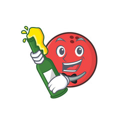 bowling ball character cartoon with beer vector image