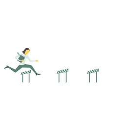 Business lady steeplechase woman jumps overcoming vector