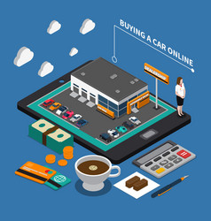 Buying car online isometric composition vector