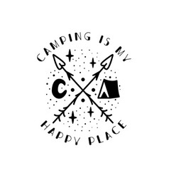 Camping badge design crest logo with tent vector