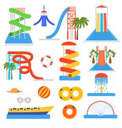 Cartoon aquapark playground elements set vector