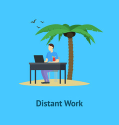 cartoon distant work men card poster vector image