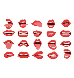 cartoon mouth female red opened and closed lips vector image