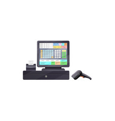 cash register with touchscreen interface isolated vector image
