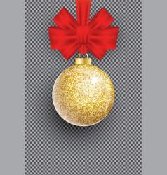 christmas golden glitter christmas ball and red vector image