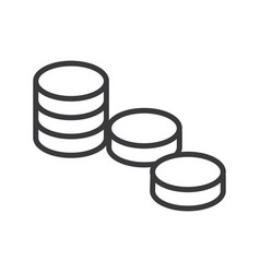 coins three stacks line icon sign vector image