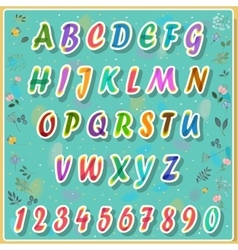 Colorful Alphabet with floral background vector