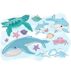 Colorful sea creatures vector