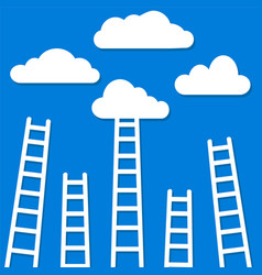 competition concept clouds with ladders stock vector image