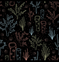 coral reef seamless background black vector image