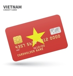 Credit card with Vietnam flag background for bank vector image