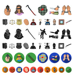 crime and punishment cartoon icons in set vector image
