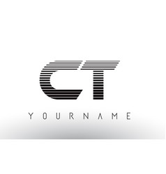 Ct c t black and white horizontal stripes letter vector