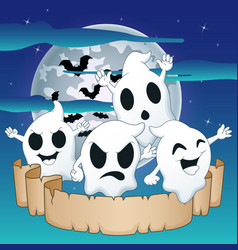 cute ghosts on a background of the night sky with vector image