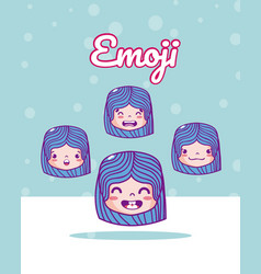 Cute girls emojis vector