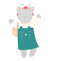 cute kitty in a dress with a handbag bezel vector image