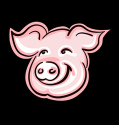 Cute pig face silhouette vector