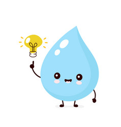 Cute smiling happy water drop with light bulb vector
