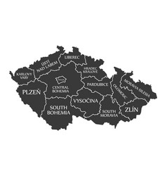 Czech republic map labelled black vector