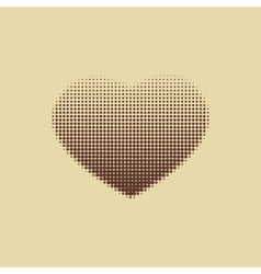 Dark brown heart painted with dots vector image