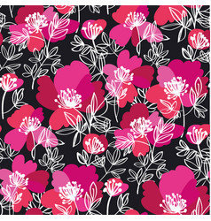 Decorative sketch peony flowers pattern vector