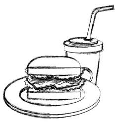 Delicious burger with soda vector