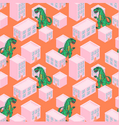 Dino monster in a pink city seamless vector