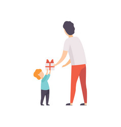 father giving gift box decorated with red ribbon vector image