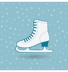 Figure skate on blue background with snowflakes vector