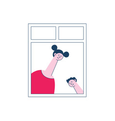 flat neighbor looking out the windows vector image