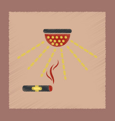 Flat shading style icon cigar smoke alarm vector