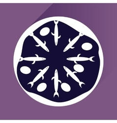 Flat with shadow icon pizza and tuna vector