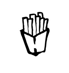 french fries grunge icon potato free brush ink vector image